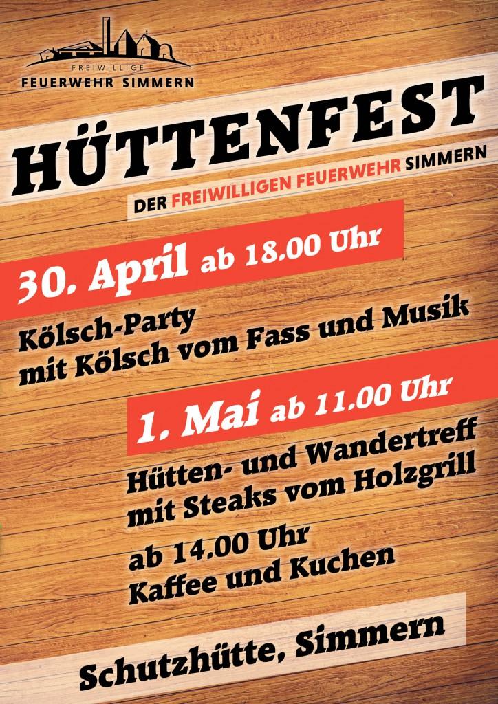 Plakat zum Hüttenfest am 30.04.2019 ab 18 Uhr und 01.05.2019 ab 11 Uhr